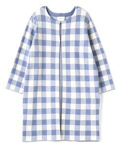 BLOCKED CHECK LONG CARDIGAN / long cardigan on ShopStyle