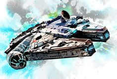 Millennium Falcon illustration from Star Wars - Poster size Art print on Canvas - 18x24