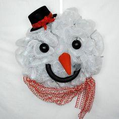 Snow man wreath in Deco Mesh