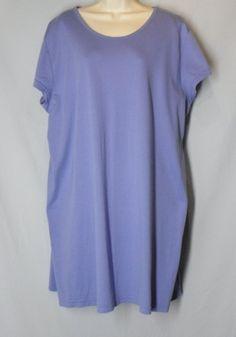 * LL BEAN size 3X SUPIMA COTTON blue cornflower sleep night shirt short sleeves
