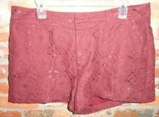 $18.95 Women's Elle Burgundy Lazer Cut Out Fully Lined Dress Shorts Size: 14 Free Shpping