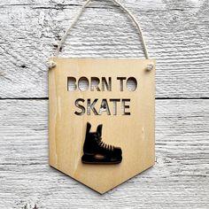 "Etch'd Designs on Instagram: ""Let's go Oilers! 🏒 . . . #lasercutwood #woodbanner #yegmade #nurserydecor #woodwallflag #lasercut #kidsroomdecor #borntoskate #hockey…"" Nursery Decor, Room Decor, Laser Cut Wood, Banners, Hockey, Kids Room, Let It Be, Instagram, Design"