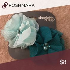 Mint and Teal flower hair clips Beautiful hair clips to dress up an outfit. Accessories Hair Accessories