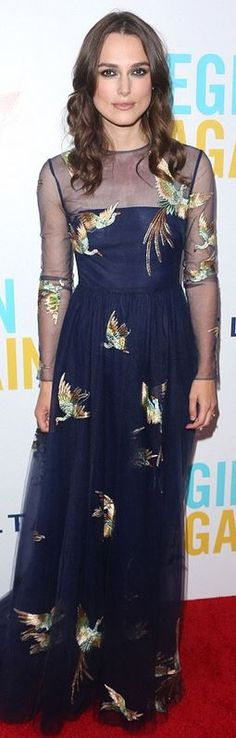 Who made  Keira Knightley's blue bird print gown and jewelry that she wore in New York on June 25, 2014