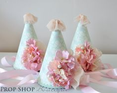 Girl's Shabby Chic Ballerina Flower Garden Birthday Party Hat Collection, Special Occasion, Dress up, Birthday, Photo Prop Garden Birthday, Birthday Party Hats, Baby Girl Birthday, First Birthday Parties, First Birthdays, Birthday Ideas, Ballerina Party, Party Ideas, Tuesday