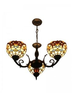 "8"" Iron Base Tiffany Stained Glass Baroque Ceiling Pendant Lighting 3 Lights"