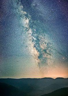 stars, mountain, landscape, night sky, night,