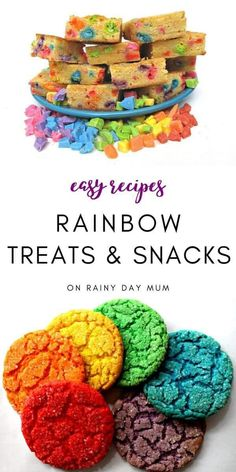 Simple and easy yummy rainbow recipes for treats and snacks to cook at home with your toddlers and preschoolers.