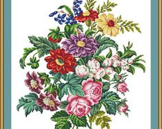 Floral bouquet in the vase BERLIN WOOLWORK embroidery a2f9f13e421f1