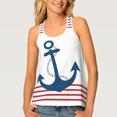 Nautical White with Red Stripes and Blue Anchor