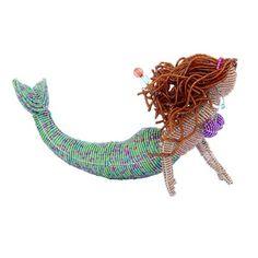 Grass Roots Creations Brunette Mermaid Beadworx Sculpture