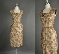 Vintage 1950s Dress wiggle rhinestone cotton by NodtoModvintage, $126.00