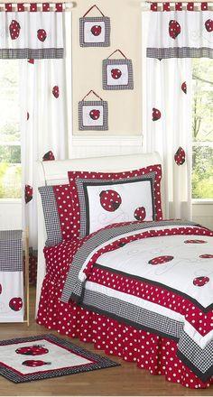 Ladybug Room, Teen Girl Bedding, Kids Bedroom, Bedroom Crafts, Bedroom Ideas, Bed Sheets, Girls Quilts, Baby Quilts, Bedding Sets