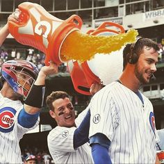 before the Gatorade and ice water hits. Espn Baseball, Baseball Helmet, Chicago Cubs Baseball, Baseball Boys, Tigers Baseball, Baseball Gloves, Baseball Players, Cub Sport, Cubs Players