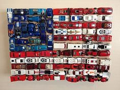 Details about American Flag Art Piece Outsider DieCast Hot Wheels on X 17 X American Flag Art Piece Outsider Diecast Hot Wheels on x 17 x 3 5 American Flag Art, Vitrine Miniature, Arts And Crafts, Diy Crafts, Old Glory, Boy Room, Fourth Of July, Hot Wheels, Decoration
