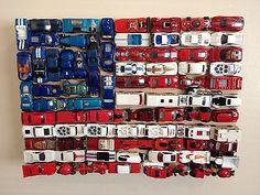 American Flag Art Piece Outsider Diecast Hot Wheels on WOOD14 x 17 x 3 5 | eBay