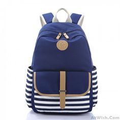 Simple Stripe Backpack Canvas School Bag Travel Bag                                                                                                                                                     More