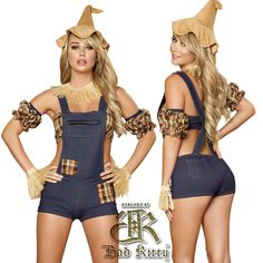 Our Scarecrow Maiden costume set includes blue denim look romper with patches, checkered tube top, straw cuff, straw collar, sleeves and hat. Character Halloween Costumes, Sexy Halloween Costumes, Fall Halloween, Halloween Party, Crow Costume, Costumes For Women, Clubwear, Overall Shorts, Blue Denim