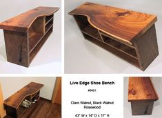 Craig Yamamoto, Woodworker - Seating bench for storage of shoes. Custom made of Claro walnut with a top of live edge black walnut. Rosewood butterflies and structural interlocking joinery.