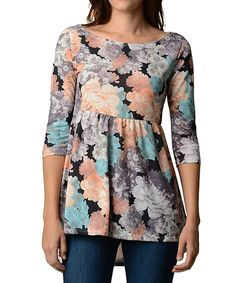 Another great find on #zulily! Blue & Orange Floral Hi-Low Tunic by Good Stuff Apparel #zulilyfinds