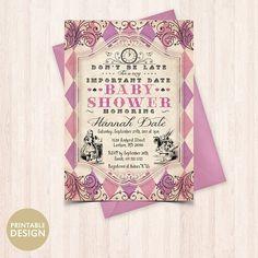 Alice in Wonderland Baby Shower Invitation  Printable Alice