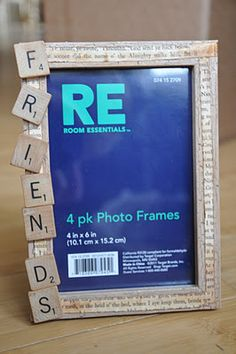 Custom Frames I used: Acrylic Paint Martha Stewart Crackle Paint Modge Podge Old book pages Recycled Scrabble Tiles Scrabble Tile Crafts, Scrabble Art, Scrabble Letters, Scrabble Pieces Crafts, Little Presents, Diy Presents, Diy Gifts, Christmas Frames, Diy Christmas Gifts