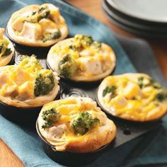 "Broccoli-Chicken Cups ~ ""I first sampled   these when my cousin made them for a bridal shower. All the ladies raved over   the fantastic flavor of their individual  'casseroles.' "" says contributor   Shirley Gerber, Roanoke, Illinois"