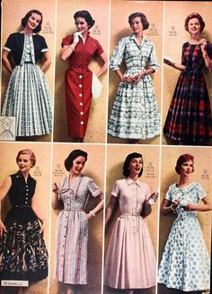 Women's style: Sears catalog, spring / summer 1958 – women's dresses … - Kleidung ideen Vintage Fashion 1950s, 1960s Fashion, 1950s Inspired Fashion, Vintage Vogue, Vintage Ads, Vintage Inspired, Vintage Outfits, Vintage Dresses, Vintage Clothing Styles