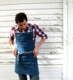 Rustic Full Utility Denim Kitchen Workshop Studio Apron for Him or Her Denim Apron No. 1. $48.50, via Etsy.