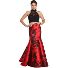 Alana Red Rose Two Piece Dress (£97) ❤ liked on Polyvore featuring dresses, white cocktail dress, red holiday cocktail dress, red evening dresses, sparkly cocktail dresses and two piece cocktail dresses