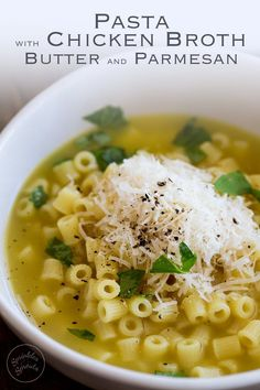 This Pasta with Chicken Broth, Butter and Parmesan is pure comfort food! It is a bowl of wonderful, warming, healing amazingness. One spoonful and you know the world is going to start looking brighter. A whole bowl and you feel restored. Honestly is there anything better than a big bowl of chicken noodle soup??