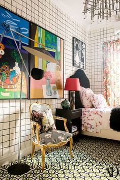 Check Out Demsey's Vibrant Home Photos   Architectural Digest A guest bedroom in John Demsey's New York City townhouse. Velvet cushion with Spaniel embroidery by Gucci Decor; gucci.com.