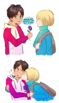 Eren x Armin. Eremin <<< don't necessarily ship it, but this is adorable...and the look on eren's face lol