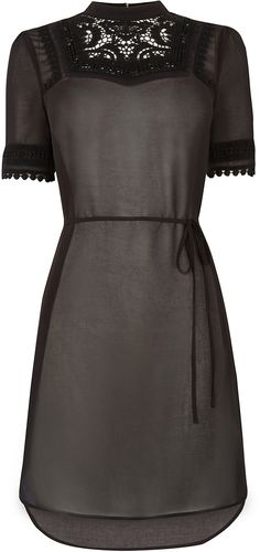 Womens black lace trim victoriana tunic from Oasis - £40 at ClothingByColour.com