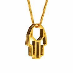 PerePaix Mens Necklace Hamsa Pendant Amulet in 18K Yellow Gold Plated Brass Fine Modern Grid Engravings 24