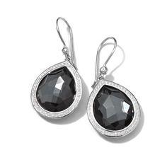 Ippolita Lollipop® Sterling Silver Teardrop Earrings with Diamonds-Diamond, Hematite