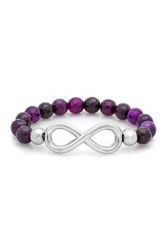 Infinity Charm Agate Stretch Bracelet