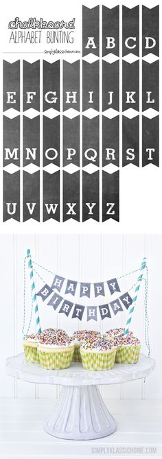 Printable Chalkboard Alphabet Bunting - Add some charm to your cakes, cupcakes and pies with this free printable download from Simply Klassic!