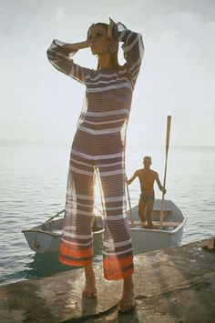 Veruschka wears a voile jumpsuit by Robert Sloan, photo by Louis Faurer, Barbados 1965