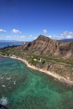 Aerial View of Diamond Head Lighthouse, Waikiki, Oahu, Hawaii