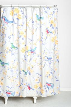 Plum & Bow Sparrow Shower Curtain - wish I didn't have these stupid glass shower doors!