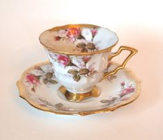 Royal Sealy Footed Tea Cup and Saucer with Pink Roses and Gold - Mid Century - Japan by HouseofLucien