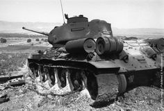A burnt out Syrian (Soviet T34/85) tank in the path of the Israeli advance, following the Six Day War in the Middle East (5-10th June). (Photo by Express/Express/Getty Images). 13th June 1967