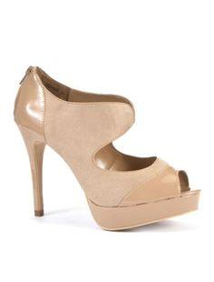 Wide Fit Oatmeal Patent Panel Platform Sandals