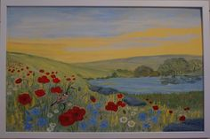 art for sale modern flowers lake poppies painting framed including delivery