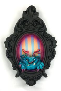 Peeking Monster Series Minch with stripes by lylawarren on Etsy, $95.00