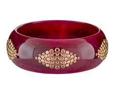 Marbled Plum Vintage Bakelite Annalisse Bangle Bracelet with Gems
