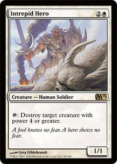 Intrepid Hero Magic the Gathering mtg white rare card human soldier creature Magic The Gathering Store, Mtg Decks, Mtg Art, Magic Cards, White Magic, Wizards Of The Coast, Deck Of Cards, Cool Cards, Game Art