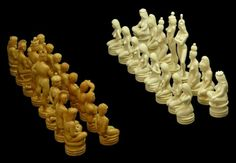 "32PCS RAIKIS MAMMOTH IVORY RUSSIAN CHESS SET Comes with certificate of authenticity certifying each piece is hand carved Mammoth. Each piece is signed to base by the artist. Tallest being the queen standing at 5-1/4"" tall"