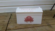 Crab wedding card box beach wedding seaside wedding by PineNsign